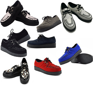 Mens Lace Up Casual Creepers Shoes Teddy Boy Platform Brothel Leather Boots