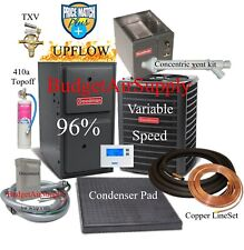 2.5 Ton Goodman 16 seer 95/96% 60K Gas Furnace Variable Speed System Install Kit