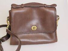 COACH Vintage Brown Leather 9870 Court Bag Cross Body Messenger Handbag Purse