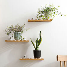 Bamboo Wall Shelf Hanging Organizer Storage Wall Mounted Wooden Bracket FA