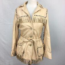 VTG 1960s Deerskin Mid Western Sport Togs Fringe Beige Womens Jacket sz 34 60s
