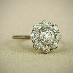 1.75 Ct Round Moissanite Cluster Engagement Wedding Ring 10kt Real White Gold