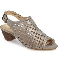 PAUL GREEN 'Lois' Perforated Smoke Leather Slingback Sandals 10.5 US