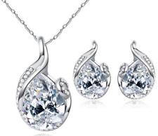 Collana orecchini goccia Parure moda idea regalo moda donna argento bracciale sh
