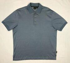 Hugo Boss Golf Mens Polo Shirt Sz Large S/S Blue/Beige Line Pattern C4