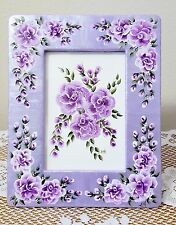Ceramic Desk Picture Frame Hand Painted Purple Roses Original Art 4.5 x 6.5