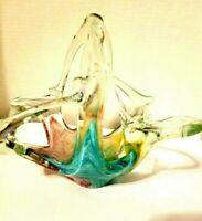 "Vtg Art Deco Glass Hand Blown Split Handle Basket Candy Dish Art Piece 9"""