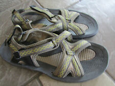 LANDS' END SPORT SANDALS WOMENS 9 YELLOW PRINT ADJUSTABLE STRAPS FREE SHIP