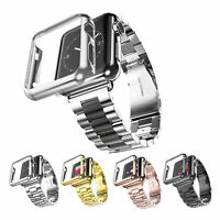 NEW Stainless Steel Watch Band Strap + Watch Case For Apple Watch Series 1&2&3