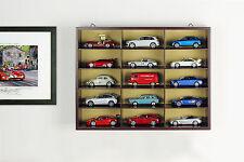 Alta Calidad VITRINA/Vitrina de pared madera 15 coches modelismo Marrón 1:43