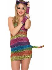 Womens Sexy Rainbow Leopard Print Party Animal Fingerless Gloves