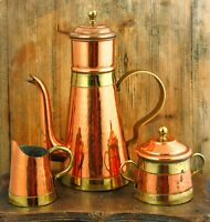 Cafetiere / Coffee Pot, Sugar and Creamer Set VABELUX Brass Copper over Tin