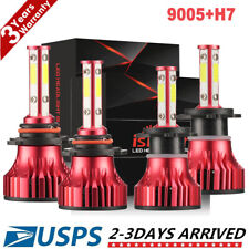 4X 9005 H7 4 Sides LED Headlight Fog Bulbs Kit For Mazda 3 04-06 Protege 5 02-03