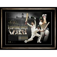 Michael Clarke Signed Australia Test A Captains Knock Official ACB Print Framed