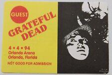 Grateful Dead Backstage Pass 4-4-94 Orlando Arena Florida