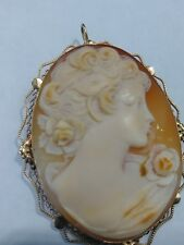 Vintage 14KT Yellow Gold Cameo Brooch Pendant Pin