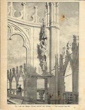 Stampa antica DUOMO di MILANO fra le guglie del tetto 1894 Old antique print
