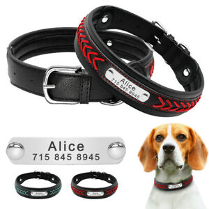 Personalized Braided PU Leather Dog Collar Engraved ID Nameplate Adjustable M-XL