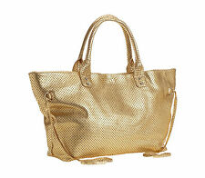 Possé Women's Marie Large Perforated Leather Tote Handbag Bag Tassel, Gold