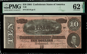 T-68 $10 1864 Confederate Currency CSA - Graded PMG 62 EPQ - Uncirculated