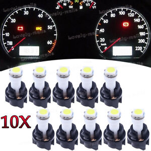 Instrument Panel LED Light Bulbs PC74 T5 Twist Lock Sockets White KIT For Ford