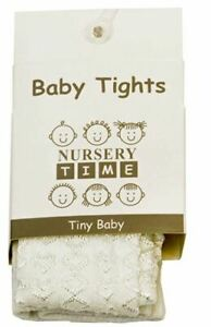 New Baby Girls Nursery Time Cotton Rich White Pink Ivory Heart Embossed Tights