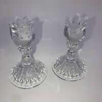 """Set of 2 Mikasa Candlestick Candle Holders """"Tulip"""" Lead Crystal"""