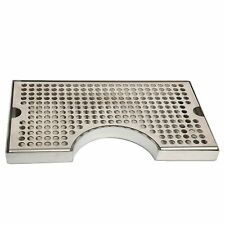 Stainless Steel Tower Cutout Draft Beer Drip Tray No Drain Removable Grate 12x7""