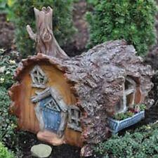 Miniture Dollhouse Fairy Garden Village Home Tree Log House Fiddlehead