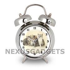 Kitten Bell Alarm Clock Kittens Cats Kitty Cat Night Stand Desk Vintage Style fs