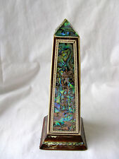 "Egyptian Wooden Obelisk Inlaid Paua Shell 6.5"" Unique! #240"