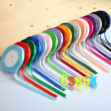 "25 Yards 1/4"" 6mm Satin Ribbon Bow Wedding Craft Sewing Decoration Variou colors"