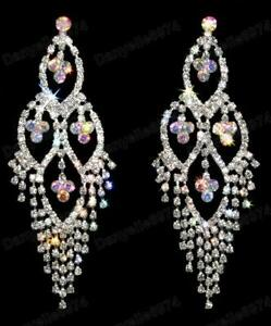 """BIG huge 3.75""""long RHINESTONE CRYSTAL EARRINGS chandelier SPARKLY glam wedding"""