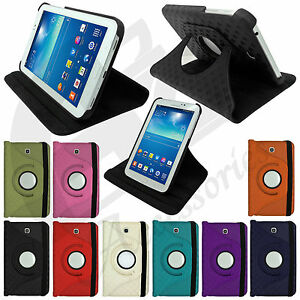 Samsung Galaxy Tab 3 PU Leather Smart Stand Rotating Protective Case Cover 3in1
