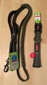 KONG Dog Collar and Leash Green Reflective Padded Hands-Free Bungee XL