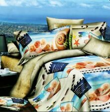 2 Pieces Single 3D Bedsheet Sea Shell Theme Fitted Cover with Pillowcase