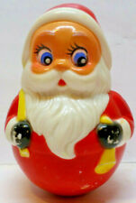 "Vintage 4"" Santa Claus Roly Poly Figure Toy Chime Kiddie Products Avon, Mass. G1"