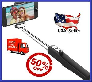 Bluetooth Selfie Stick Extendable Handle Monopod with LED Fill Light & Mirror