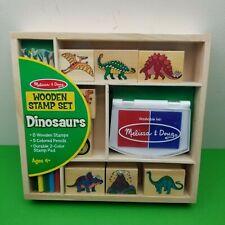 Melissa & Doug Wood Stamp Set 8-Dinosaur stamps 2-Ink Pad 5-Colored Pencils NEW