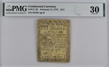 New ListingContinental Currency Fr#Cc-20 Feb. 17, 1776 $1/3 Pmg 30 *Scarce In This Grade*