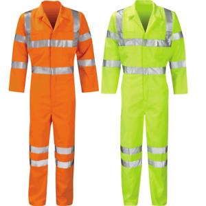 Hi Viz Safety Coveralls Overalls BoilerSuit Mens Reflective Tape High Vis Workwe