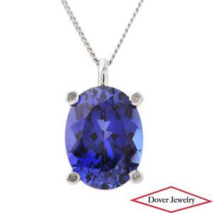 Estate Diamond Synthetic Sapphire 10K Gold Elegant Oval Pendant NR