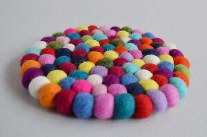 Pom Felt Balls Wool Handmade Choose Beads Craft Quantity Coaster Mix 19.5 cms
