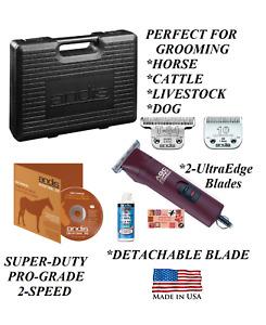 Andis PRO 2-Speed CLIPPER SET&ULTRAEDGE T-84,10 BLADE,CASE*HORSE,LIVESTOCK,SHEEP