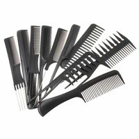 10pz Hair Styling Pettine Set Professionale Nero Parrucchieri Spazzola Barbieri