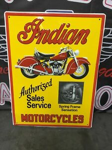 Indian Motorcycle Authorized Sales Service Dealer Sign, Indian Chief