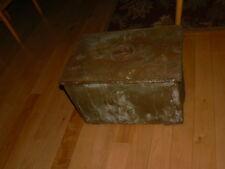 Antique Oak Wood & Copper Relief Coal Bin Scuttle Ash Box Nautical scenes