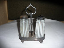 VICTORIA CADDY WITH PAIR OF OPALESCENT STRIPE CASTER BOTTLES