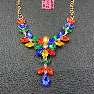 Multi-Color Rhinestone Crystal Charm Flower Betsey Johnson Pendant Necklace