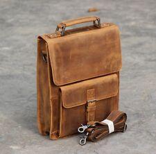 Vintage Full Grain Leather Men's shoulder bag Messenger Handbag Satchel Brown